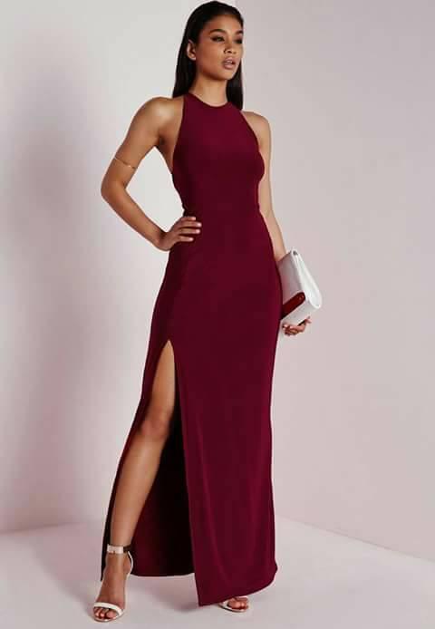 Vestidos modernos color vino