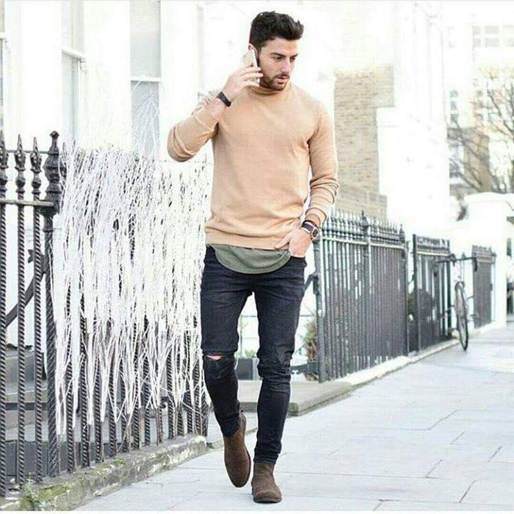 Mens Beige Skinny Jeans
