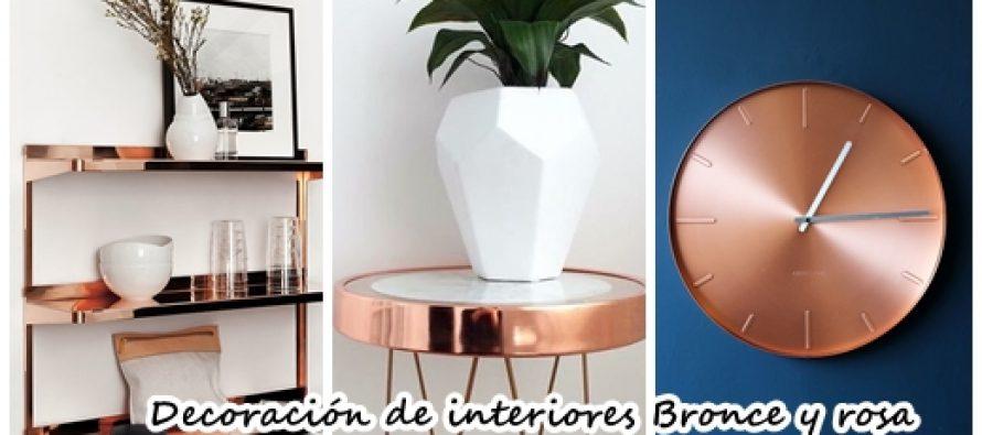 Decoración de interiores bronce con rosa