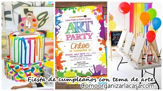Fiesta de cumplea os con tema de arte decoracion de - Menu para fiesta de cumpleanos en casa ...