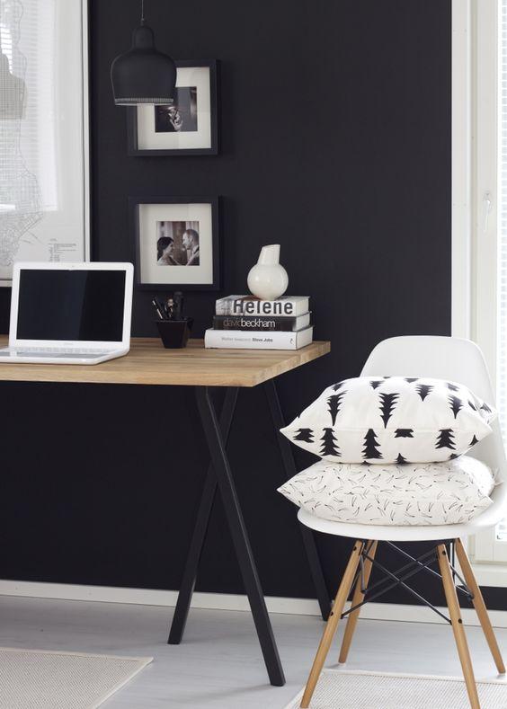 25 disenos e ideas pintar negro una las paredes casa 19 - Pintar las paredes de casa ...
