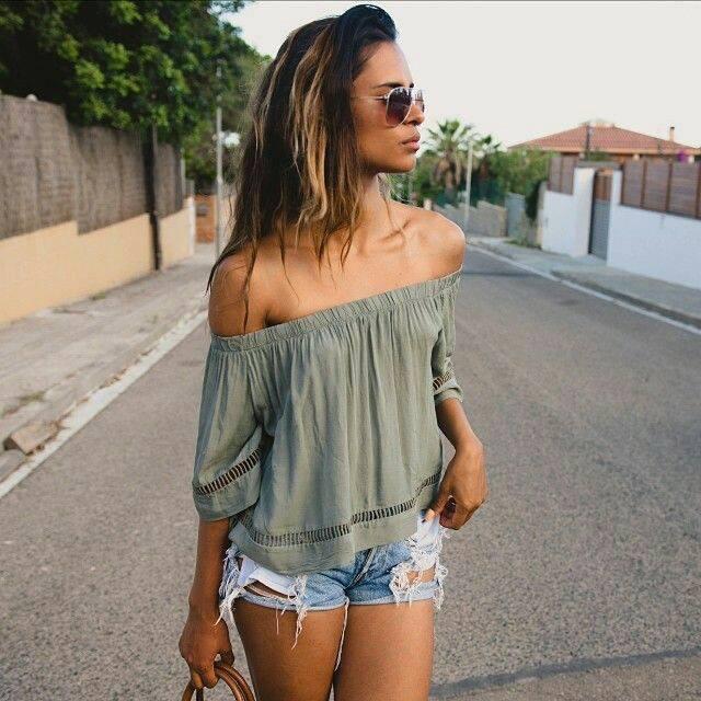 Blusas strapless ideales para primavera-verano