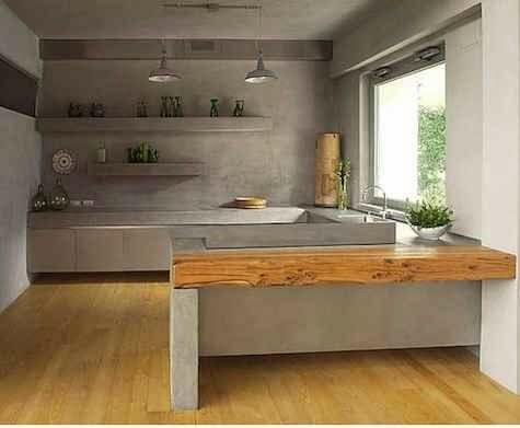 Disenos De Cocinas Revestidas Con Cemento Pulido