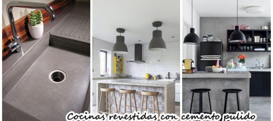 Diseños de cocinas revestidas con cemento pulido
