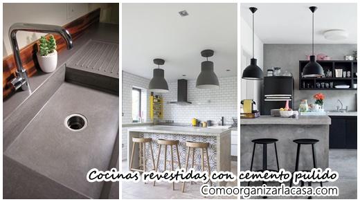 Diseos de cocinas revestidas con cemento pulido Decoracion de