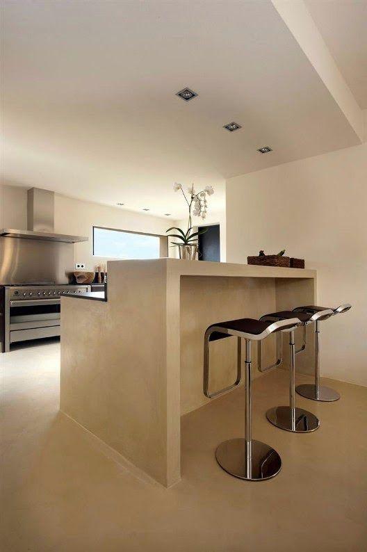 Disenos Cocinas Revestidas Cemento Pulido 6 Como Organizar La Casa Fachadas Decoracion