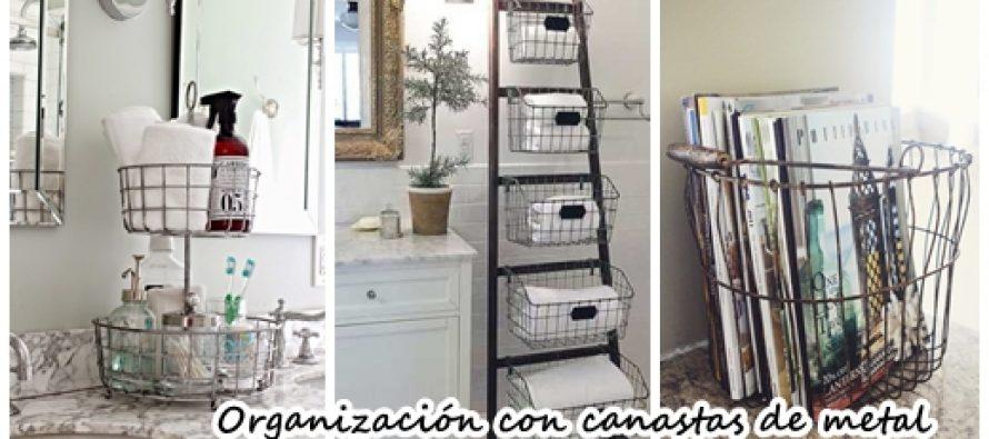 Organización del hogar con canastas de metal