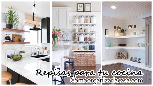 29 ideas de repisas para cocinas mas ordenadas for Decoracion de cocinas pequenas con repisas