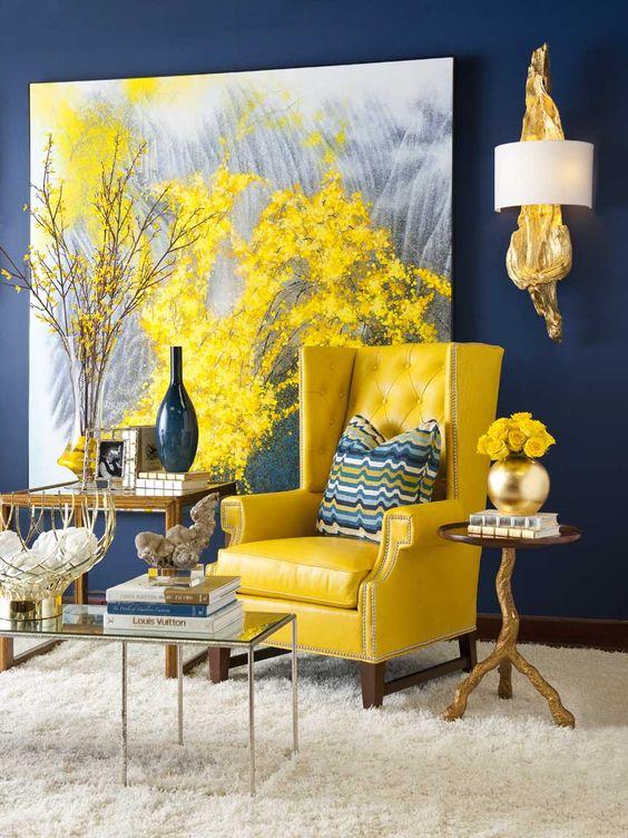 31 ideas decoracion amarillo azul marino 30 decoracion for La casa azul decoracion