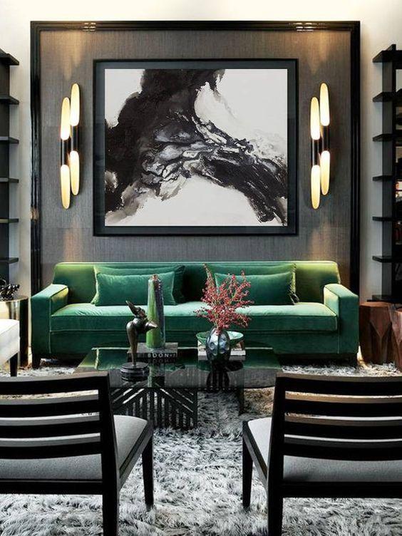 32 Ideas para decoración de interiores color verde esmeralda