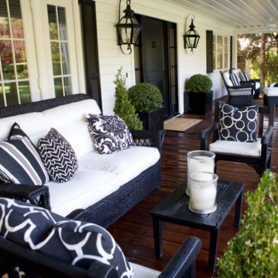 Atrium Home Design Ideas Pictures Remodel And Decor: 40-ideas-decorar-una-terraza-blanco-negro (1)