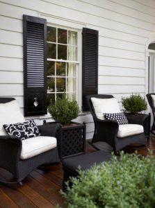 40 Ideas para decorar una terraza blanco con negro