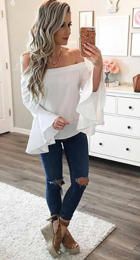 40 opciones de como usar blusas con manga campana