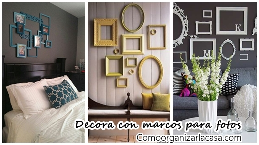 Ideas para decorar con marcos para fotos | Decoracion de interiores ...