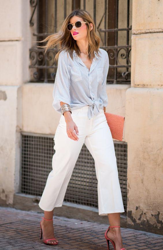 33 Outfits elegantes con culottes blancos