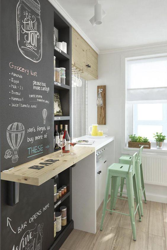 35-ideas-transformar-cocina-una-pared-pizarra (12) | Decoracion de ...