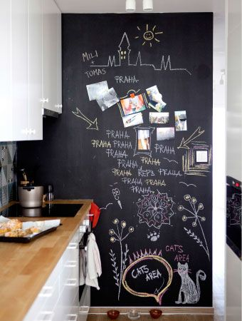 35 ideas para transformar tu cocina con una pared de pizarra - Pared De Pizarra