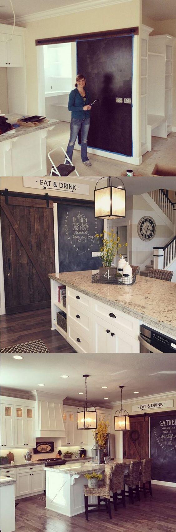 35 ideas transformar cocina una pared pizarra 32 decoracion de interiores fachadas para - Pared pizarra cocina ...