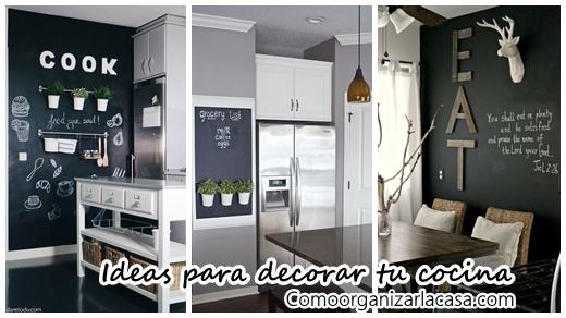 35 ideas para transformar tu cocina con una pared de pizarra - Pared pizarra cocina ...