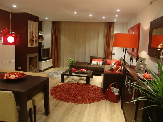Decoraci n de interiores rojo y caf como organizar la for Cuadros modernos decoracion para tu dormitorio living