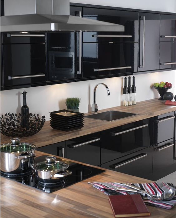 black gloss kitchen cabinets ideas para decorar cocinas color negro 12372