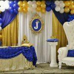 Baby shower azul con dorado