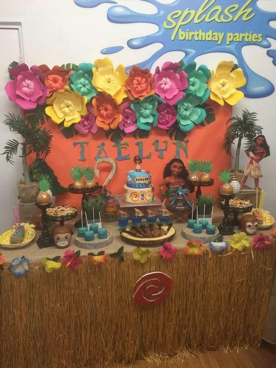 Decoracion de cumpleaños con temática de moana