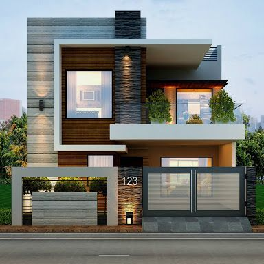 Fachadas Casas Modernas 19 on Modern Front House Elevation Designs
