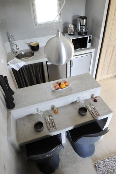 Models of small cement kitchens
