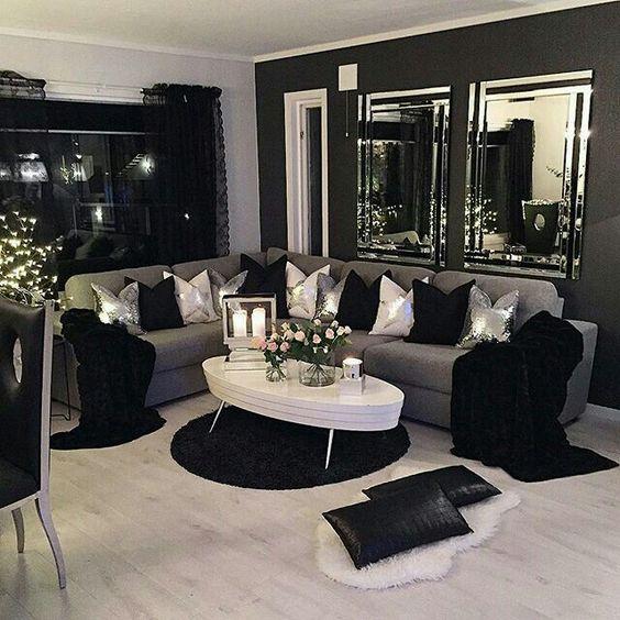 Salas modernas y atrevidas en color negro una decisi n for Cuadros modernos decoracion para tu dormitorio living