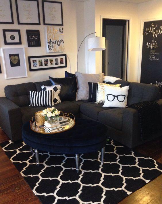Modelos de salas modernas y atrevidas en color negro con for Idea deco en blanco y negro