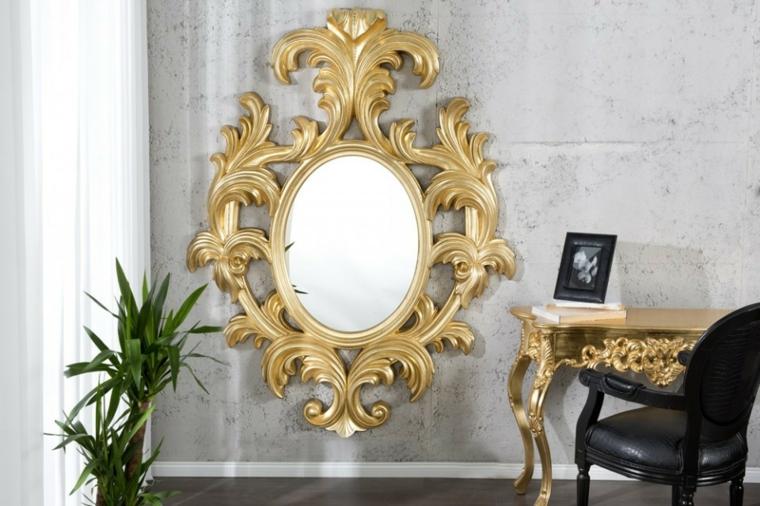 Espejos decorativos para sala y comedor ideas para - Espejos con marco plateado ...