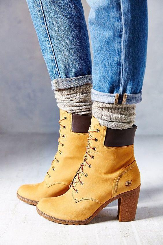 Outfit con botas timberland de tacon (2)