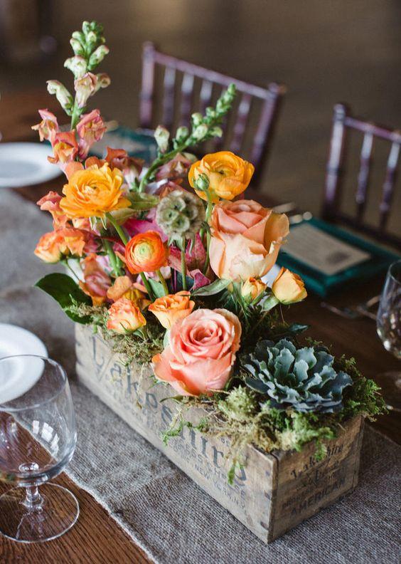 Centros de mesa para bodas con bases de madera - Mesas de centro originales ...