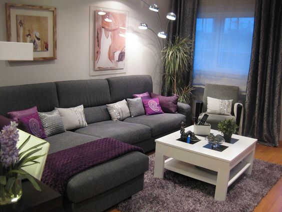 Gray and purple color for small rooms