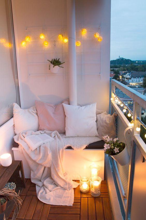 decoración de balcones con velas