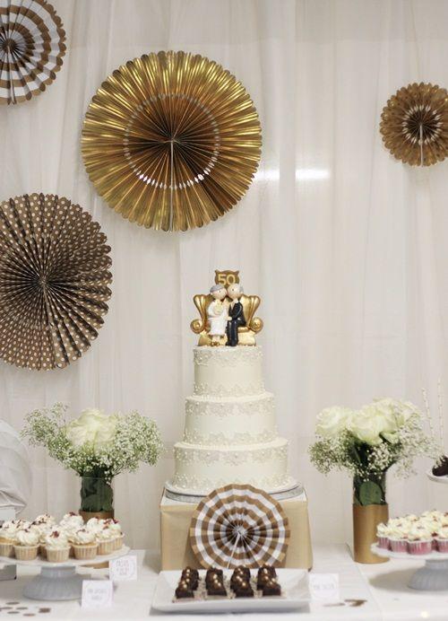 Ideas para un festejo de bodas de oro decoracion de for Decoracion 60 30 10