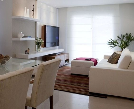 Ideas para decorar una sala peque a y moderna for Como decorar un living comedor rectangular grande