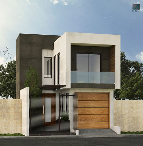 Fachada de casa pequeña con balcón pequeño en el segundo piso (4)