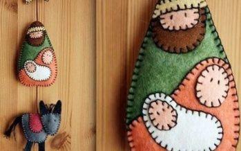 DIY Árboles de navidad y Nacimientos de fieltro pegados a la Pared