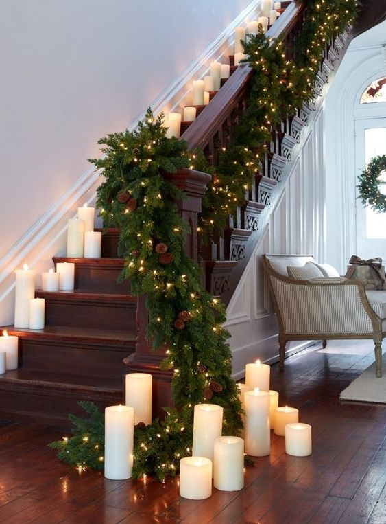 Como decorar escaleras navideñas