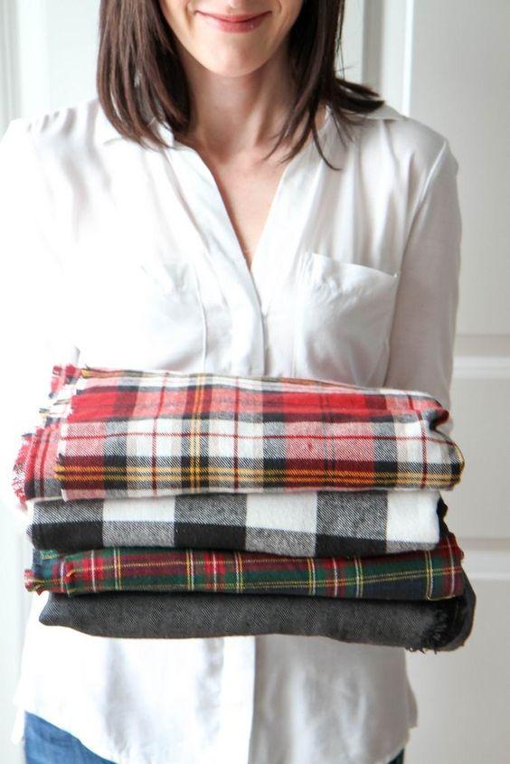Cuadros escoceses en mantas