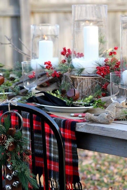 Otros detalles con cuadros escoceses para la decoración navideña