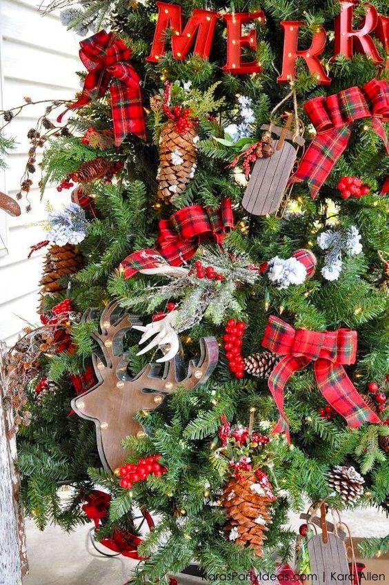 Cuadros escoceses para la decoración navideña