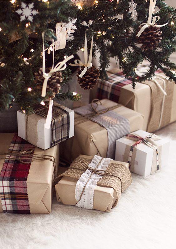 Envolturas navideñas con estilo rústico