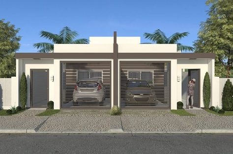 fachada con dos puertas de garage