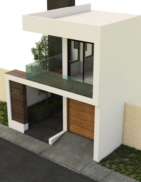 fachada con portico de madera