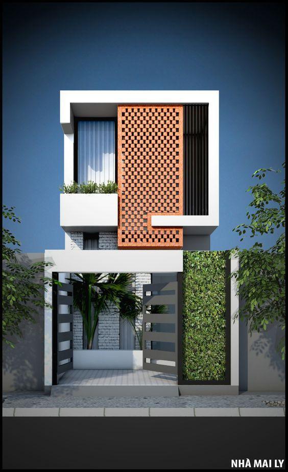 fachada de casa en color llamativo