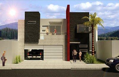 fachada de casa pequena con acero en pintura roja