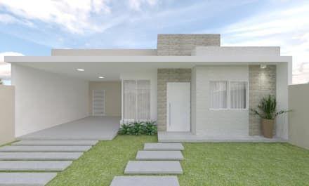 fachada de casa pequena con alero aparente blanco
